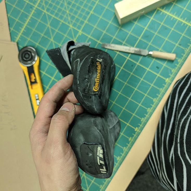 fietsenband rubber klimschoen reparatie