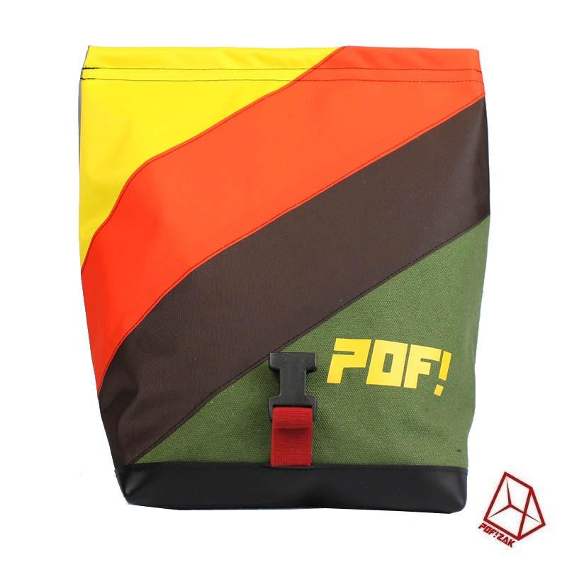 Boulder pofzak groen, bruin, oranje en geel met POF!